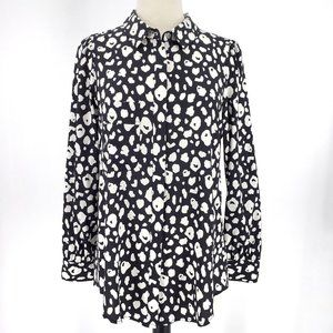 Annie Griffin Silk Print Button Down Medium